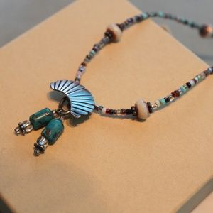 Jewelry - Silver and Turquoise Bead Boho Necklace